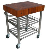 "Cucina Americana D'Amico 30"" x 24"" Stainless Steel Wine Cart - Cherry"