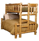 Double/Single (Ladder Right) Log Bunk Bed - Traditional Cedar